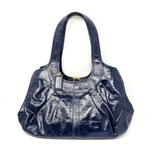 Coach Pleated Patent Leather Kisslock Shoulder Bag